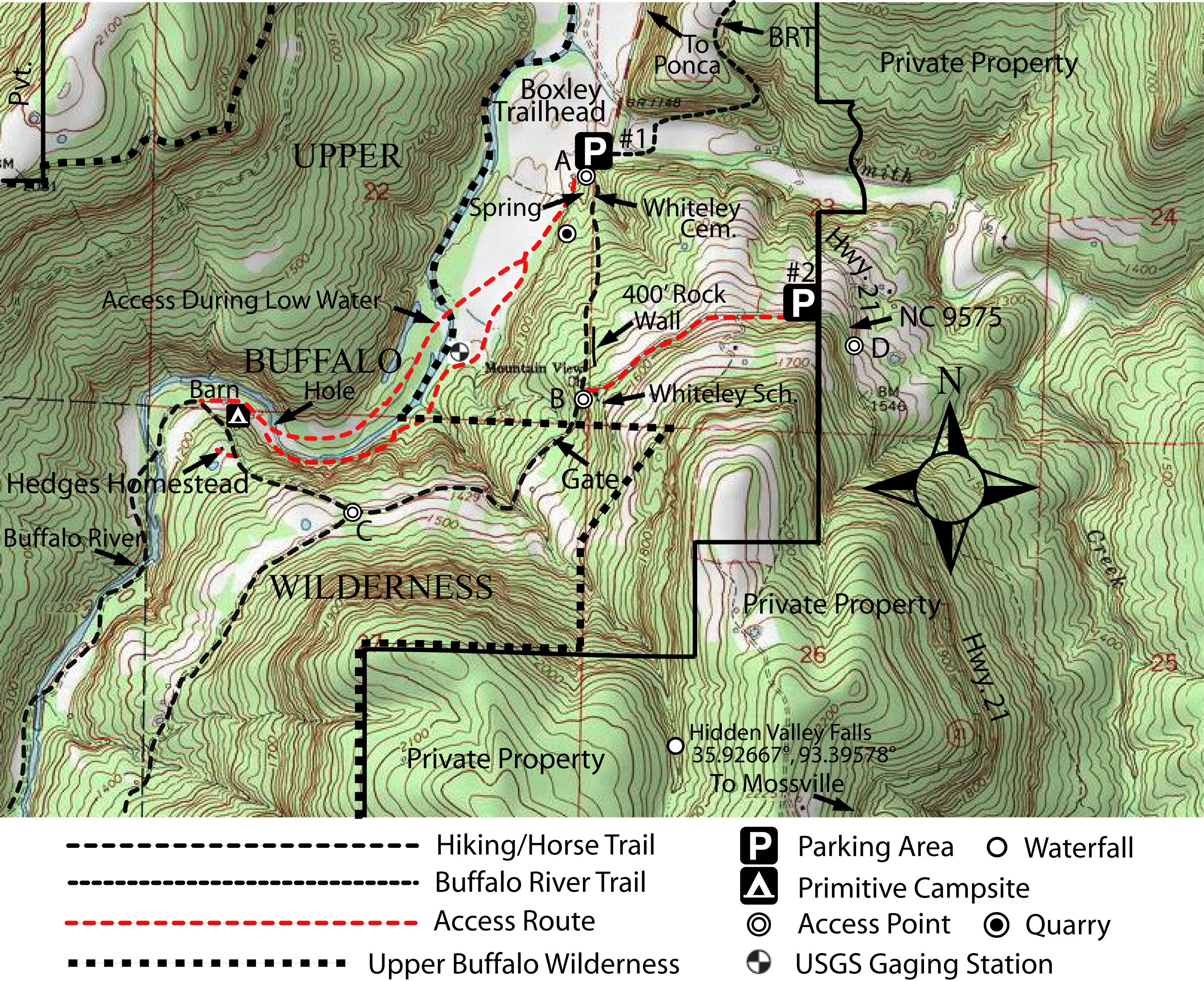 Boxley Valley Arkansas Map.Takahik River Valley Hikers